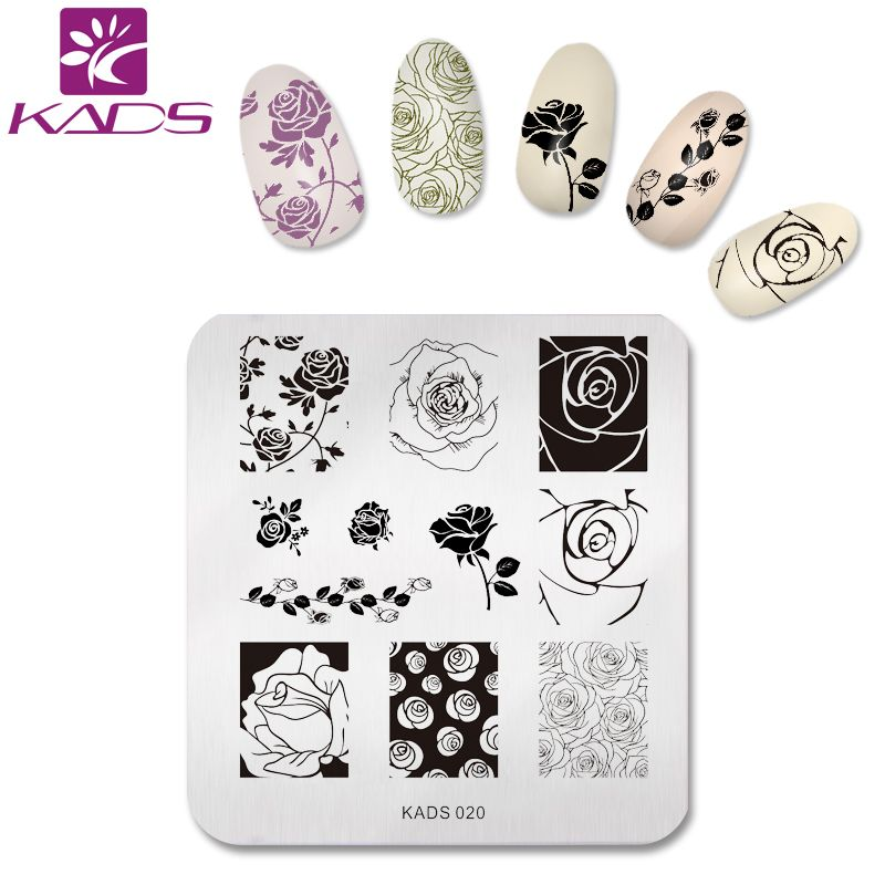 KADS NEW Elegant Rose Flower Nail Art Stamp Stamping Plates Nail Print Template for Women Polish Stencils Beauty Decoration