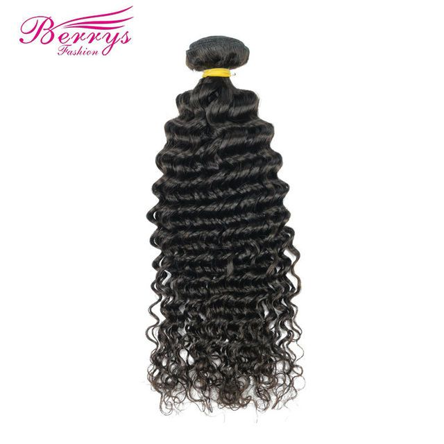 "[Berrys Fashion] Brazilian Deep Wave Hair Weave Bundles 1pc/Lot 100% Human Hair Extensions 12-26"" Natural Color Remy Hair Weft"