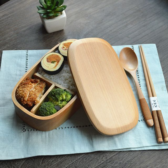 New Lunchbox Lancheira Japan Style Solid Wooden Lunch Box For Children,with Free Chopsticks & Spoon L18cm-w10cm-h5cm