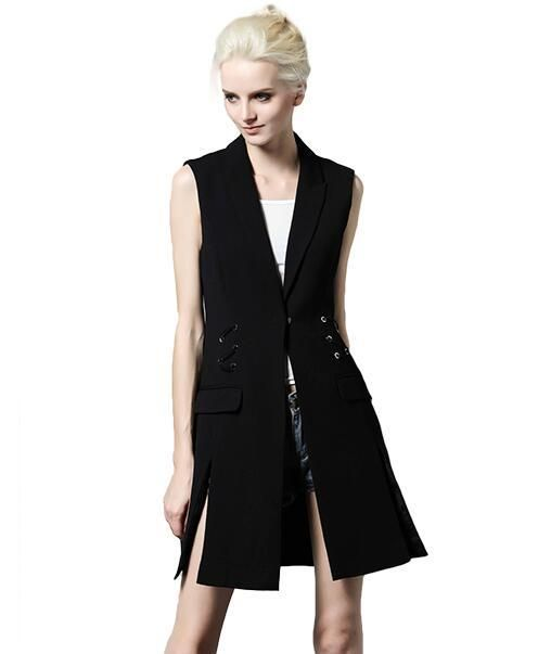 Fashion Spring Autumn sleeveless Coats Women Slim Fit Cardigan Vest Black/White Long Jackets Open fork Waistcoat Femme