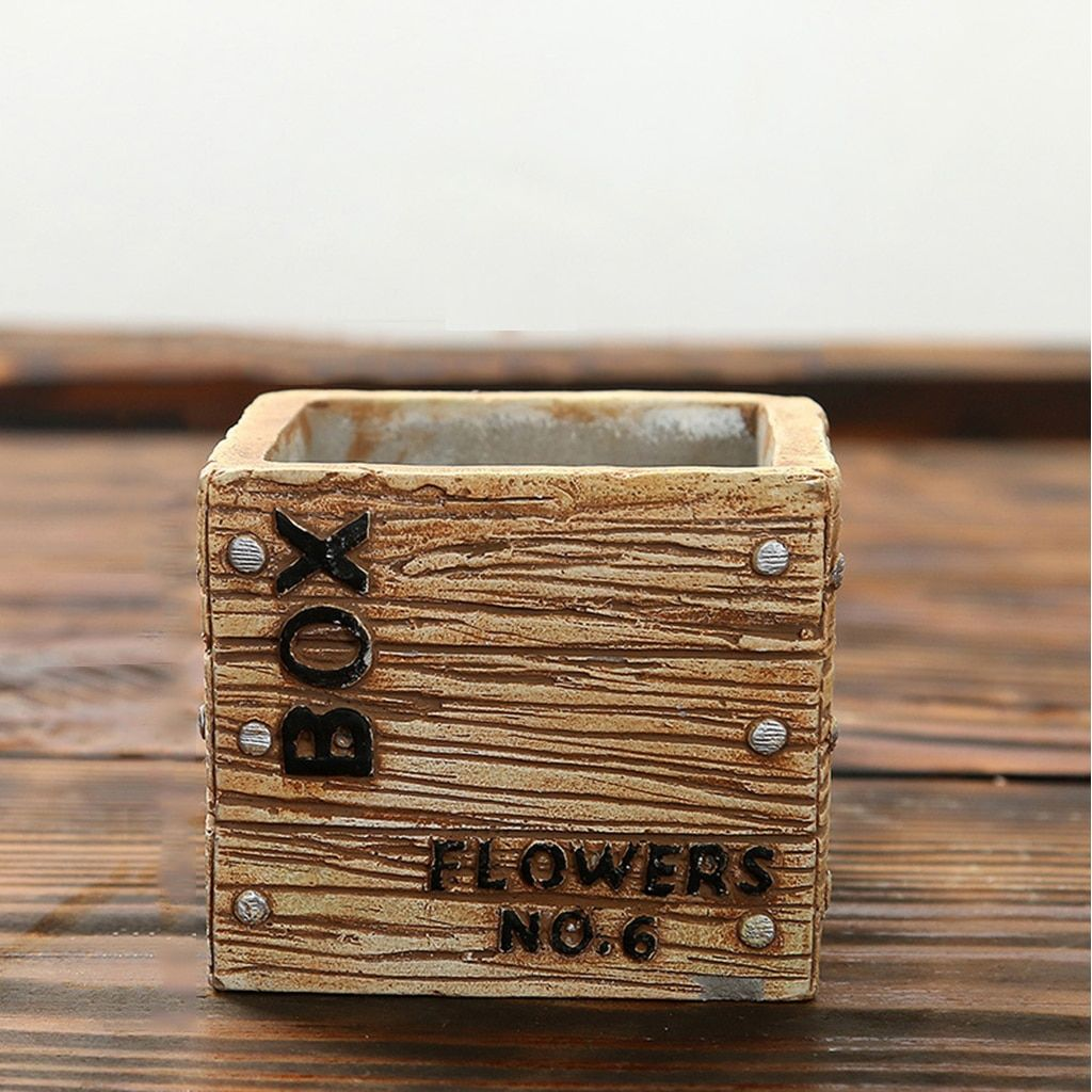 Flowerpot Herb Planter Garden Rectangle Flower Succulent Bed Plant Pot Box for Home Garden Decor