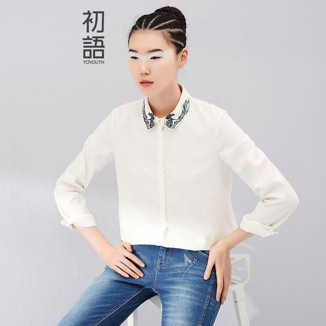 Toyouth Brand New Women Long Sleeve Shirt Women Ethnic Pattern Printed Collar Cotton Camisas Femininas Blusa Feminina Ladies Top