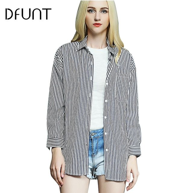 DFUNT Brand Summer Women Shirts One Pocket Turn-down Collar Full Sleeves Casual Tops Pictures Printed Womens Blouses Plus Size