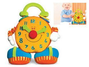 Candice guo! Hot sale super cute baby educational plush toy colorful smiling big ben activity clock toy early learning gift 1pc