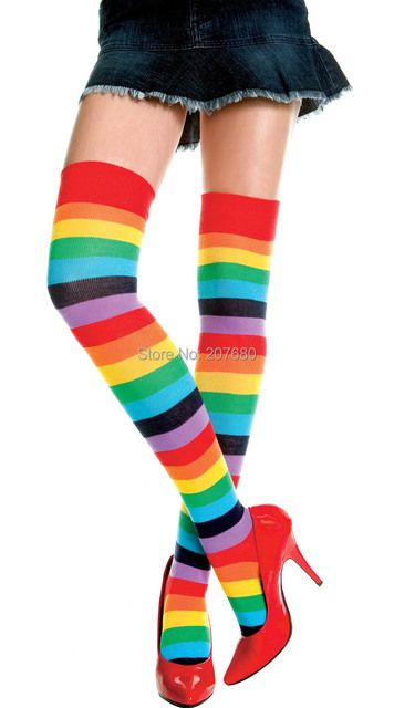 20 pairs Women's Girls Punk Rock Rainbow Thigh or Knee High Socks Costume Fashion Stripe Stockings
