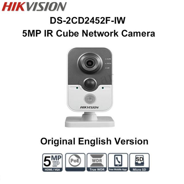 Hikvision DS-2CD2452F-IW Oriniginal English Version 5MP IR Cube Network Camera support POE SD card