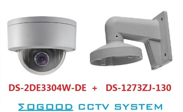 Hikvision English Version DS-2DE3304W-DE 3MP Mini PTZ IP Camera with DS-1273ZJ-130-TRL Wall Mount Btacket