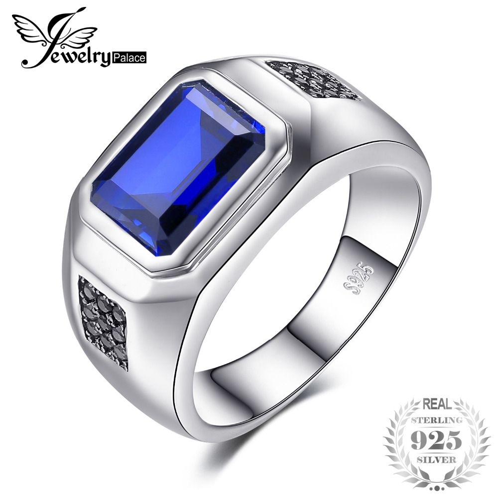 Jewelrypalace Men 4.3ct Luxury Created Blue Sapphire Natural Black Spinel Anniversary Wedding Ring Genuine 925 Sterling Silver
