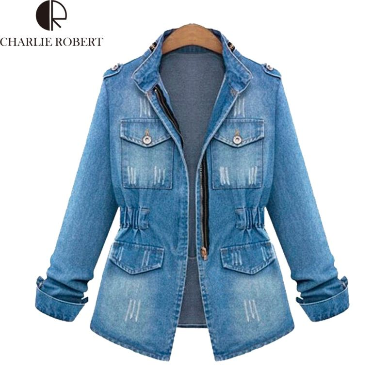 Jeans Jacket Women European American Vintage Washed Zippers Long Sleeve Denim Coats Slim Waist Body Fashion Female Casaco