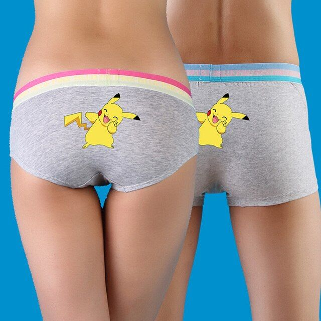 Free Shipping Pokemon panties Pikachu Couple set Cotton men's boxer Lady triangle Broadside Hip Breathable underwear R2