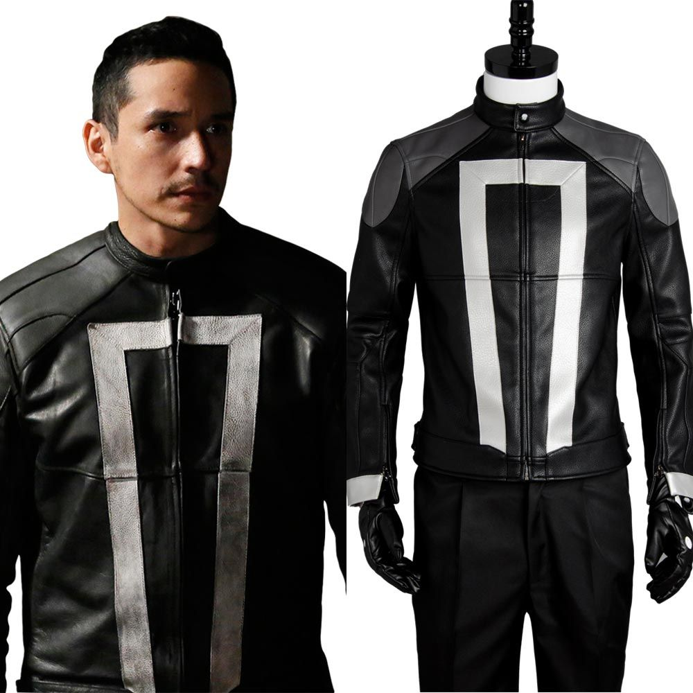 Agents of Shield Costume S.H.I.E.L.D Ghost Rider Cosplay Full Set Uniform Carnival Cosplay Costume Jacket+Gloves