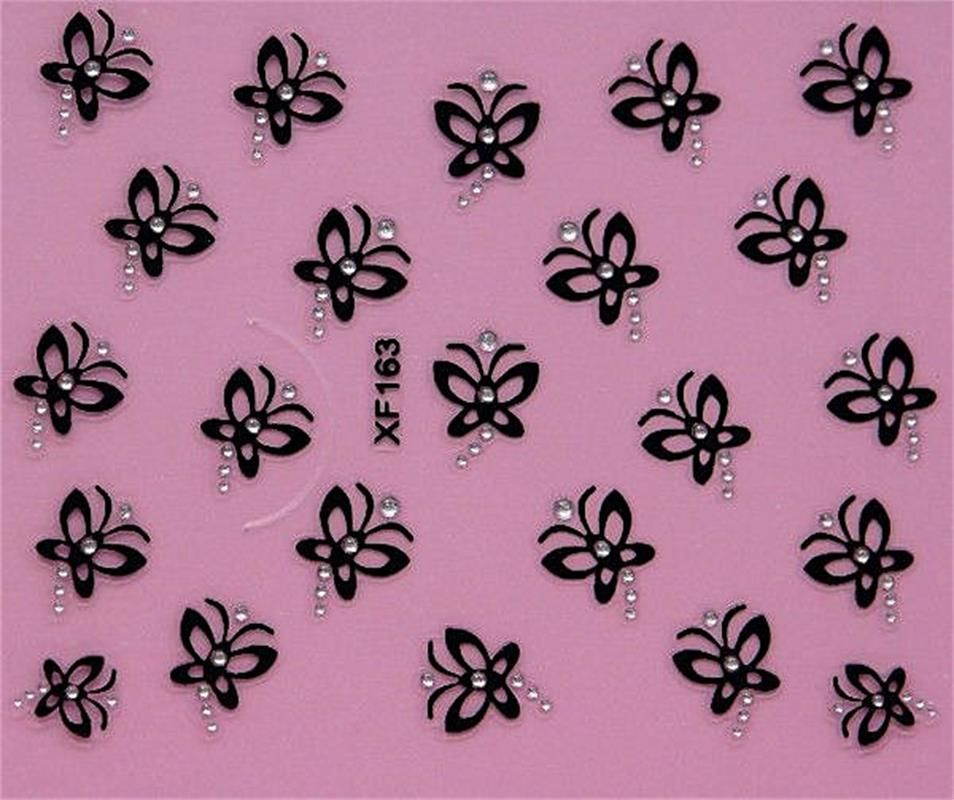 black 3D DIY butterfly design Water Transfer Nails Art Sticker decals lady women manicure tools Nail Wraps Decals XF163