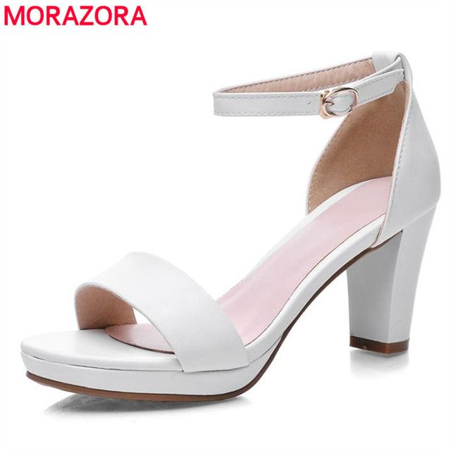 MORAZORA big size 34-43 2018 fashion thick high heels open toe woman sandals high quality pu leather black red shoes woman