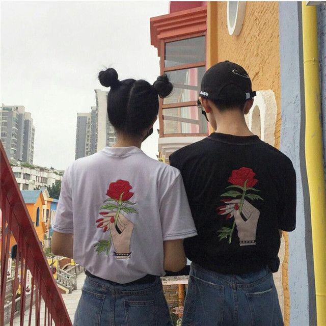 rose embroidery hand holding black white cotton o neck tshirt harajuku women ulzzang unisex couple pair romantic flower top