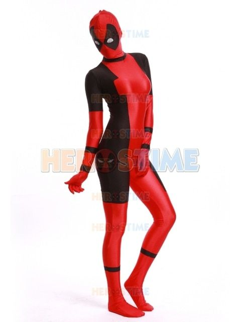 2015 Lady Deadpool Costume red and black spandex  halloween female superhero costume hot sale show zentai suit free shipping