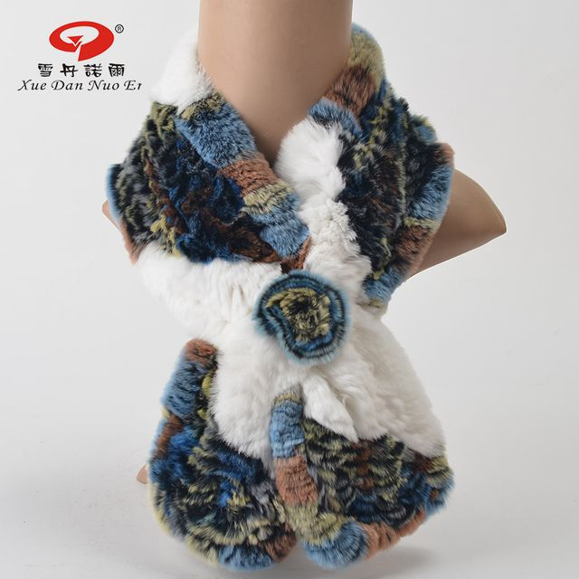 Natural fur kintted scarf  women winter real Rex rabbit fur 2017 new arrival shawl fashionable and elegant hot sale  multicolor