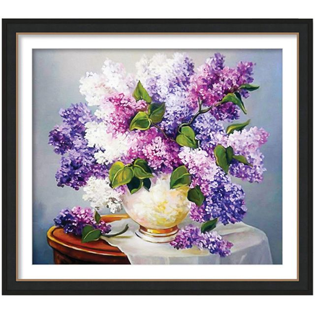 55x48CM DIY diamond painting Cross Stitch Lavender Rhinestones mosaic decorative painting Flowers 5D Diamond embroidery