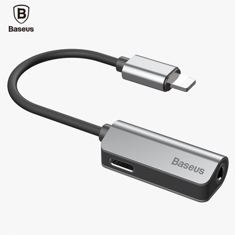 Baseus audio adapter for iphone 7 8 plus X 2 in 1 charging cable adapter for lightning jack to headphone 3.5mm jack AUX cable