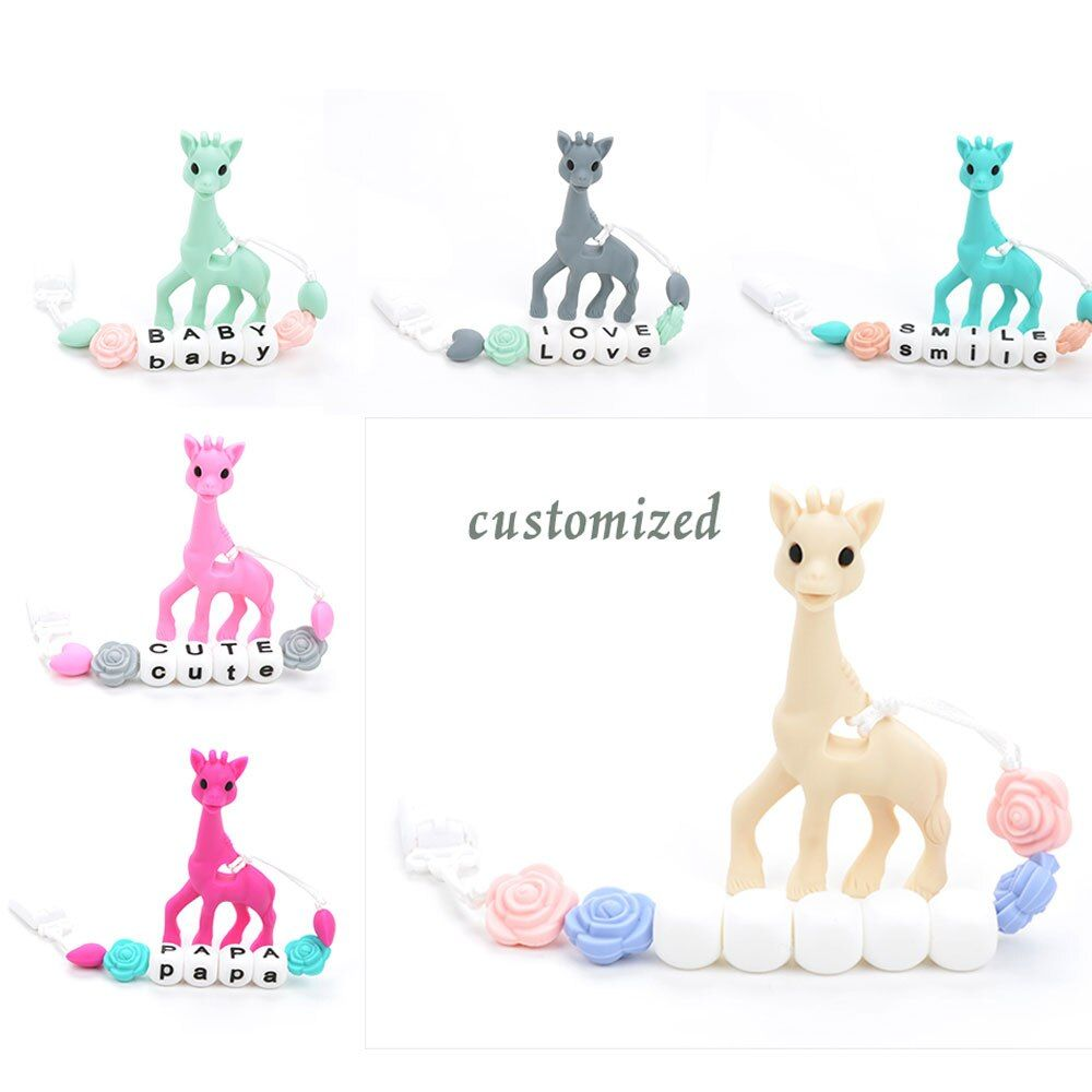 Silicone Giraffe Pendant Pacifier Clip Giraffe Teether Toy Food Grade Jewelry Teething Baby Carrier Teething Accessory