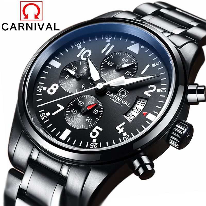 Luxury Brand Carnival pilot series Stainless Steel Strap Analog Display Date Men's Quartz Watch Casual Watch Men Watches relogio