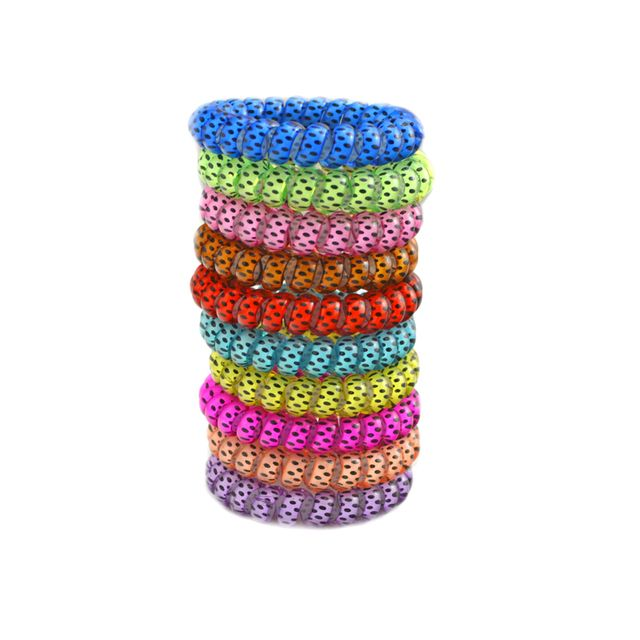 Lots 10 Pcs Spot Dot Telephone Wire Line Elasticity Rubber Band Elastic Hairbands Hair Rope For Scrunchy Headbands Gum 5.5 CM