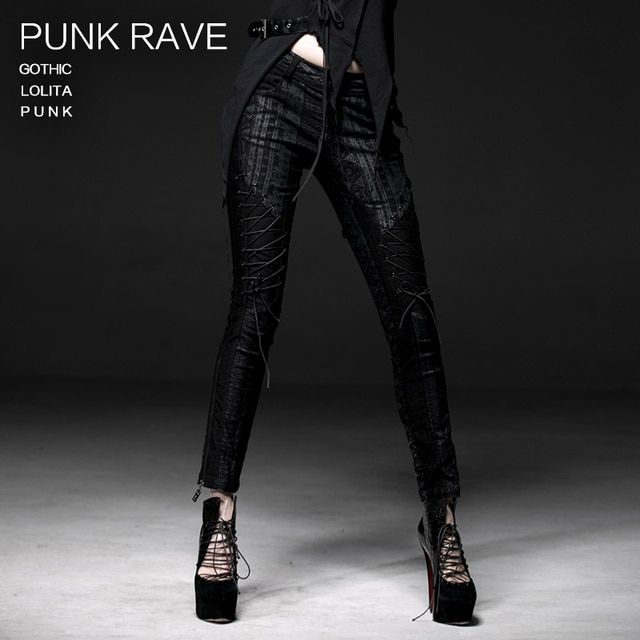New Punk Rave Fashion Gothic Casual Visual Kei Lacing Women Tights Pants
