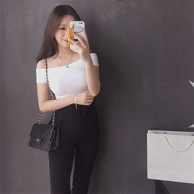 Womens tops blouses Off The Shoulder Basic Blouses 2018 Summer Korean Style Women's Tops Solid Color Sexy Female Shirts Clothing
