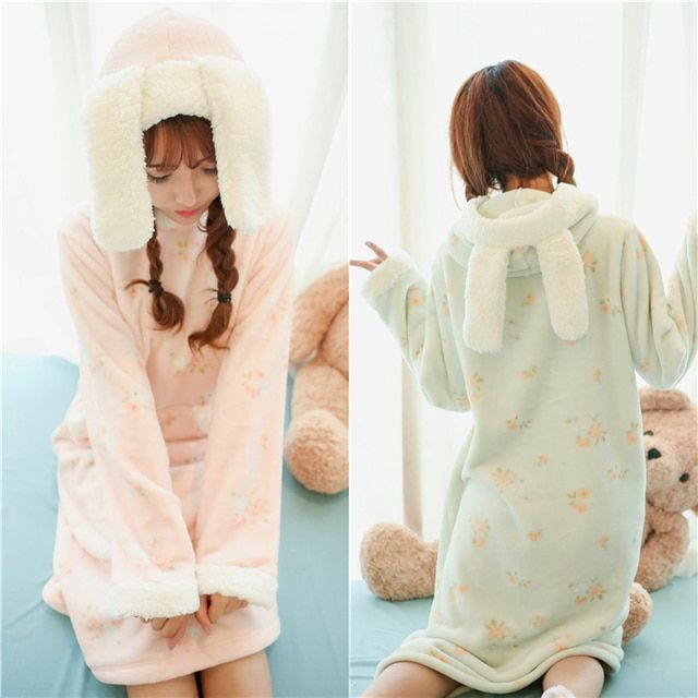 Princess sweet lolita pajamas Autumn and winter Japanese cute bunny ears rabbit ear Flannel warm long pajamas Nightdress SQ14