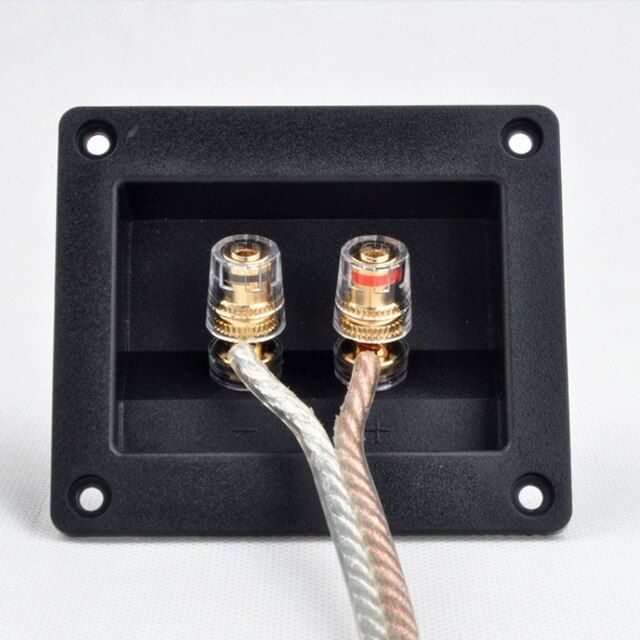 2pcs Two Speaker Junction Box Connector , Copper Terminal Speaker Wiring Board, Audio Accessories Thickened Audio Wiring Panel