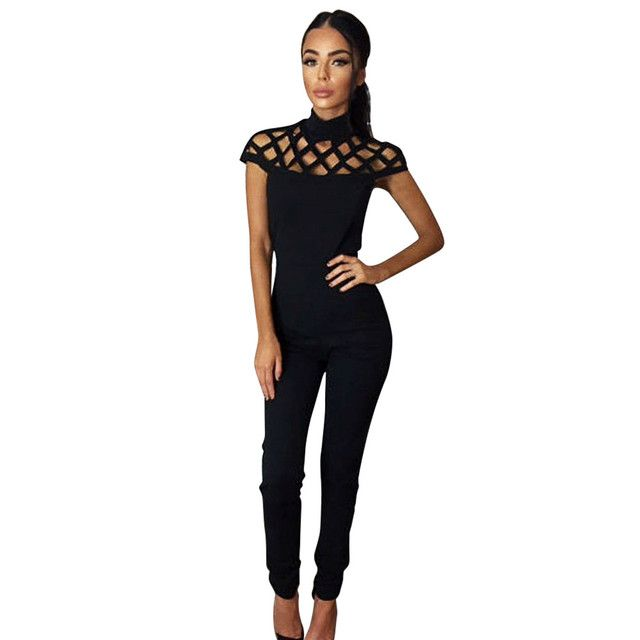 Fashion Womens Choker Turtleneck Short Sleeve Playsuits Casual Office Lady Skinny Jumpsuits Grid Hollow Out Long  Rompers Dec8