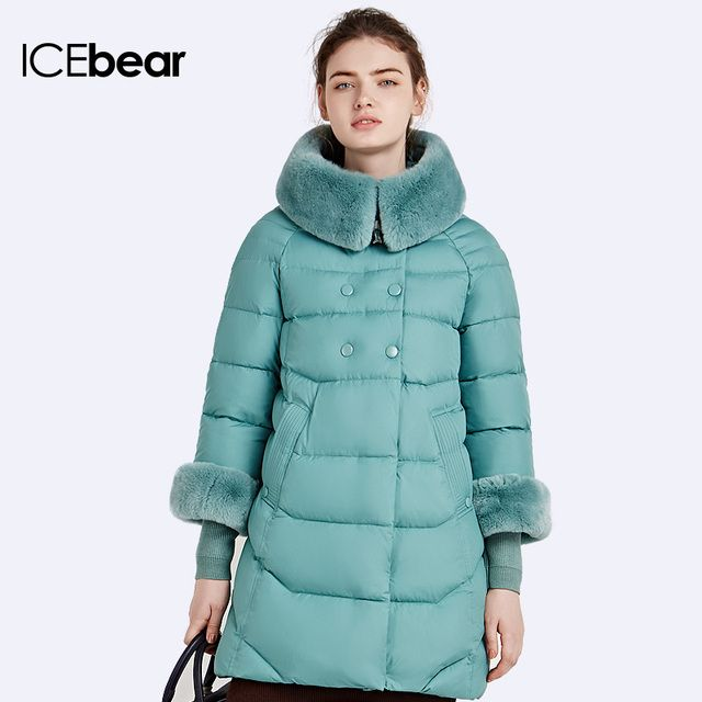 ICEbear 2016 Rabbit Fur Collar Detachable Natural Color Winter Long Jacket Neat Line Design Women's Coat And Parka  16G639