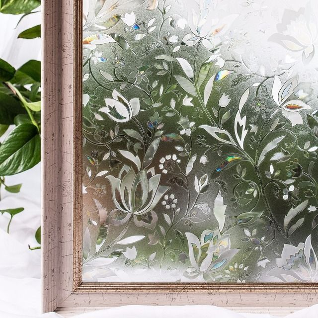 CottonColors Window Privacy Films ,Premium No-Glue 3D Static Kitchen Glass Window Film Stickers Home Decor Size 45 x 200cm