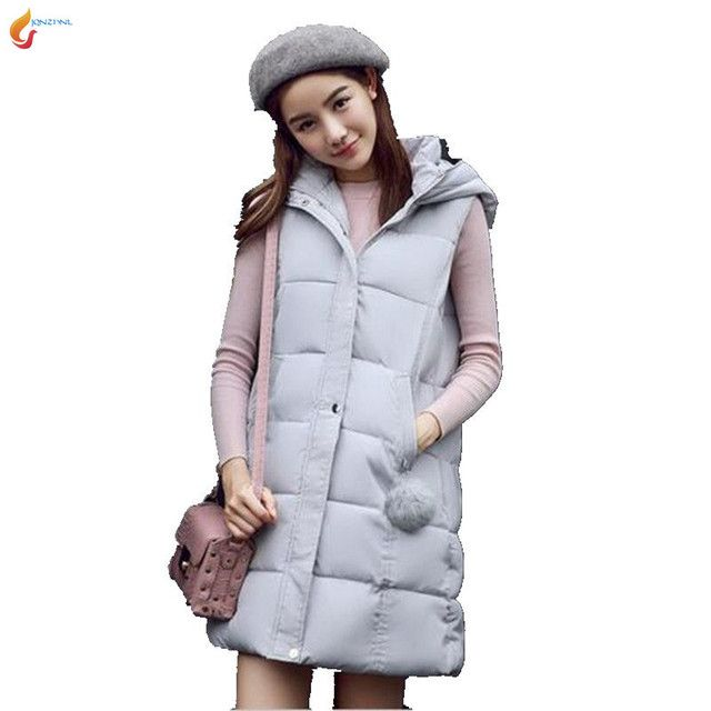 Medium long Eiderdown Cotton Ma3 jia3 Female 2017Autumn Winter New Women Loose Hooded Thicken Pure color Fashion Vest Coat G1820