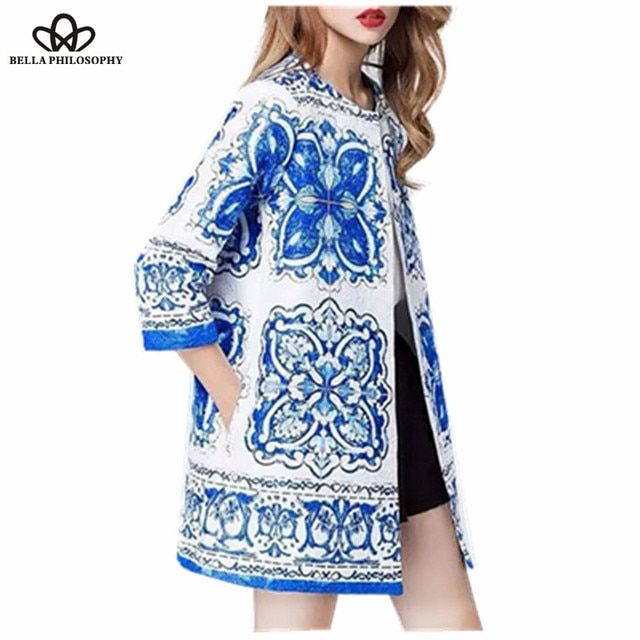 2017 spring Blue And White Porcelain floral jacquard long jacket women coat printed outwears coat