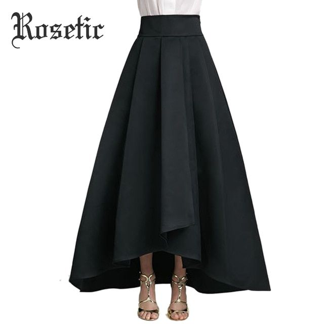 Rosetic Gothic Women Skirt Asymmetrical European Style Skirt Black Ankle-Length Pleated Expansion Autumn Lace-Up Goth Maxi Skirt