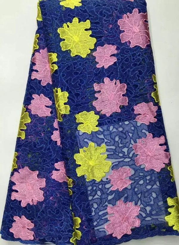 5 Yards/lot Beautiful royal blue french net lace fabric with yellow and pink embroidery african party lace for dress DN9-1
