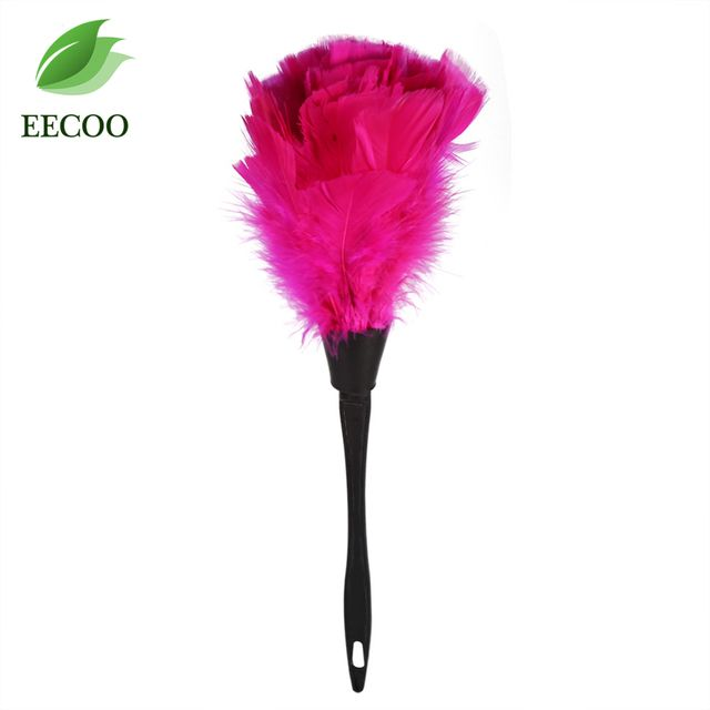 2017 New Cleaning Duster Soft Turkey Feather Duster Brush With Black Handle Home Furniture Car Feather Dusters Cleaning Tools