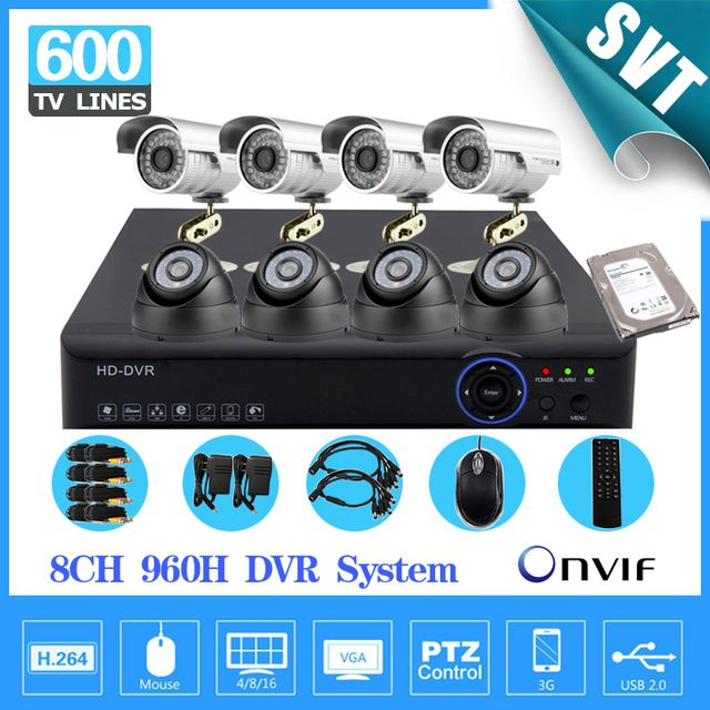 Home 8CH CCTV Security camera set day night 600tvl Camera 8channel DVR Kit 1tb hard drive Color Video Surveillance System SK-059