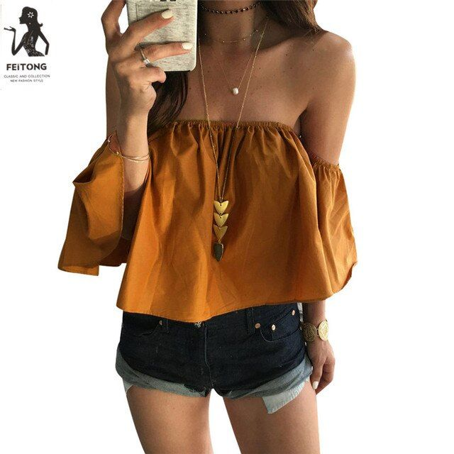 Feitong Off Shoulder Top Blouse Cropped for Women's Sleeveless Shirt Solid Ruffle Blouse Woman Tops Chemises Femme Camisas Mujer