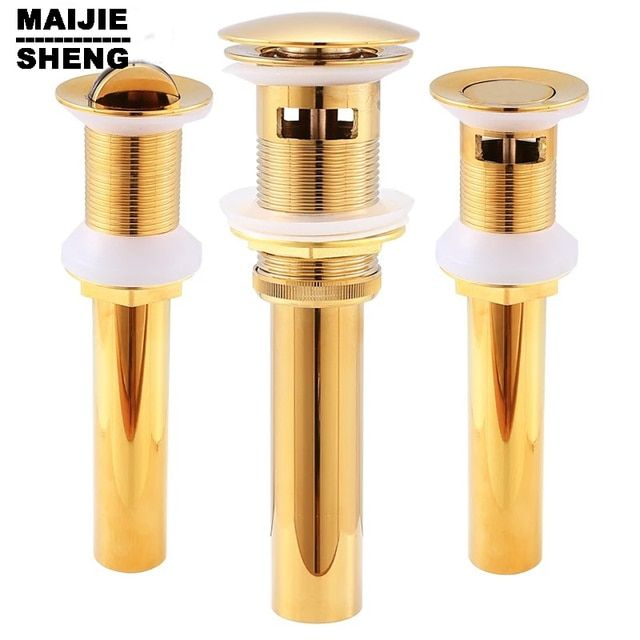 Pop Up Drain With overflow basin sink drain Gold bathroom parts faucet accessories Good Solid Brass Bathroom Lavatory Sink