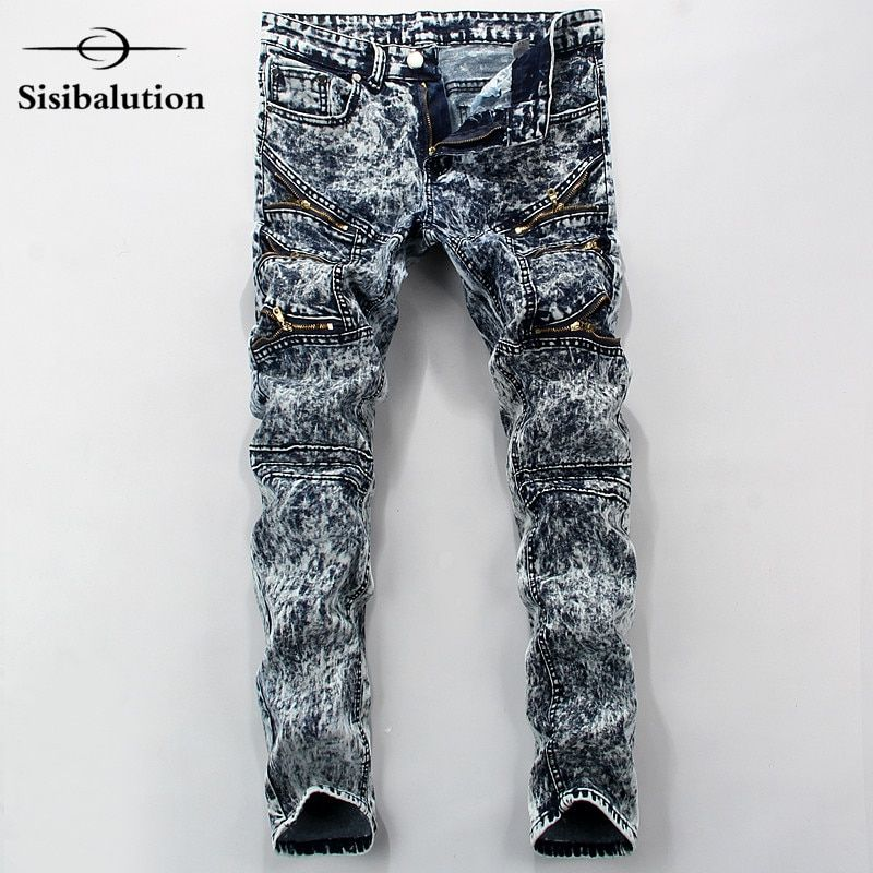 2016 New High Quality Mens Jeans Blue Color Printed Jeans For Men Ripped Button Jeans Casual Pants Quality Cotton Denim Jeans