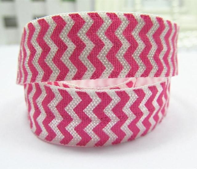 (100yards/lot)  5/8 inch  Hot Pink Chevron Printed FOE Elastic Ribbon For Hair Tie