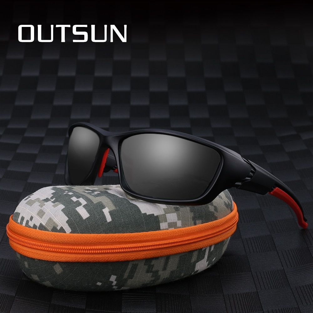 OUTSUN Polarized Sunglasses Men Women Tr90 Unbreakable Frame Adjustable Nose Pad Outdoor Sun glasses UV400 Camouflage case