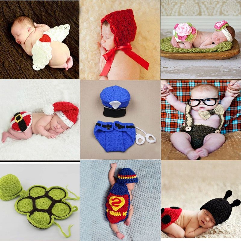 Baby Newborn Photography Props Costume Hand Crochet Knit Infant Beanie Hat with Cape Animal Design Wing Superman policeman