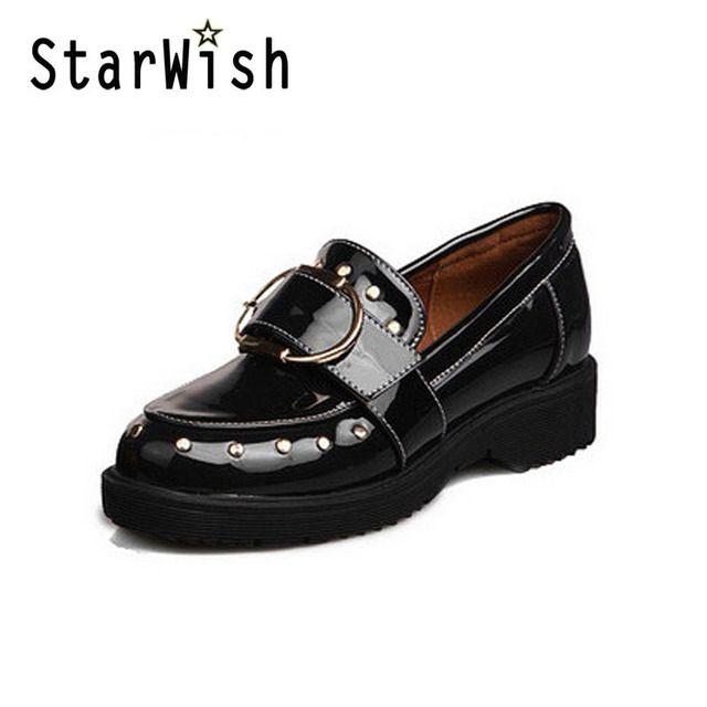 STARWISH New Fashion Rivet Patent Loafers For Women Vintage Round Toe England Style Women Loafers Chic Metal Buckle Casual Flats