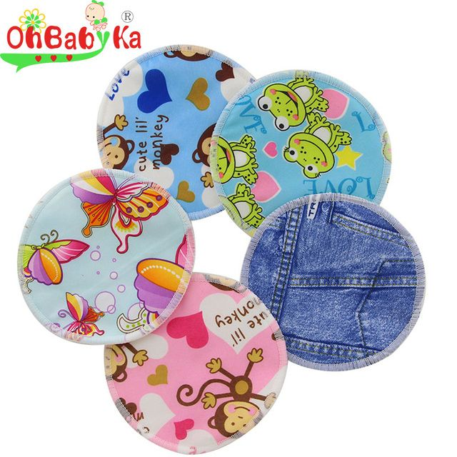 OkBabyKa Nursing Pads Printed Soft Washable Breast Pads Pregnant Spill Prevention Breast Feeding Nursing Pads For Mom 10pcs/lot