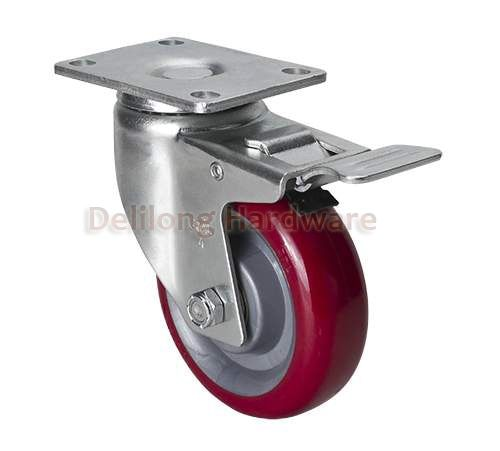 "Red color 4"" plastic TPU dual brake Caster wheels 150kg duty, double ball bearing"