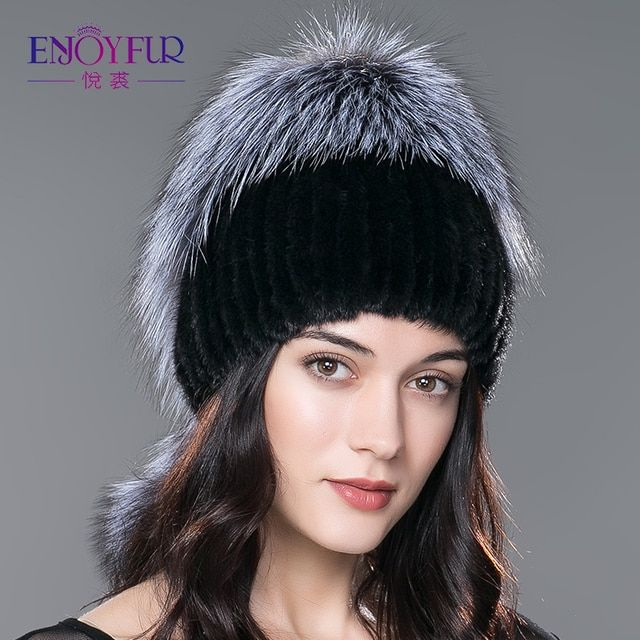 Women fur hat for winter genuine mink fur skullies with silver fox fur pom poms top beanies 2016 new hot sale elastic  fur cap
