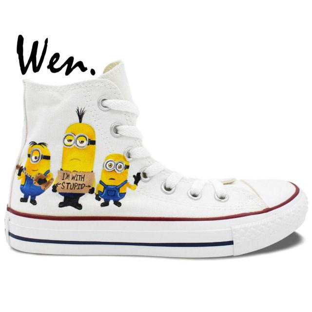 Wen Hand Painted Shoes Casual Shoes Custom Design Despicable Me Minions High Top Men Women's White Canvas Shoes