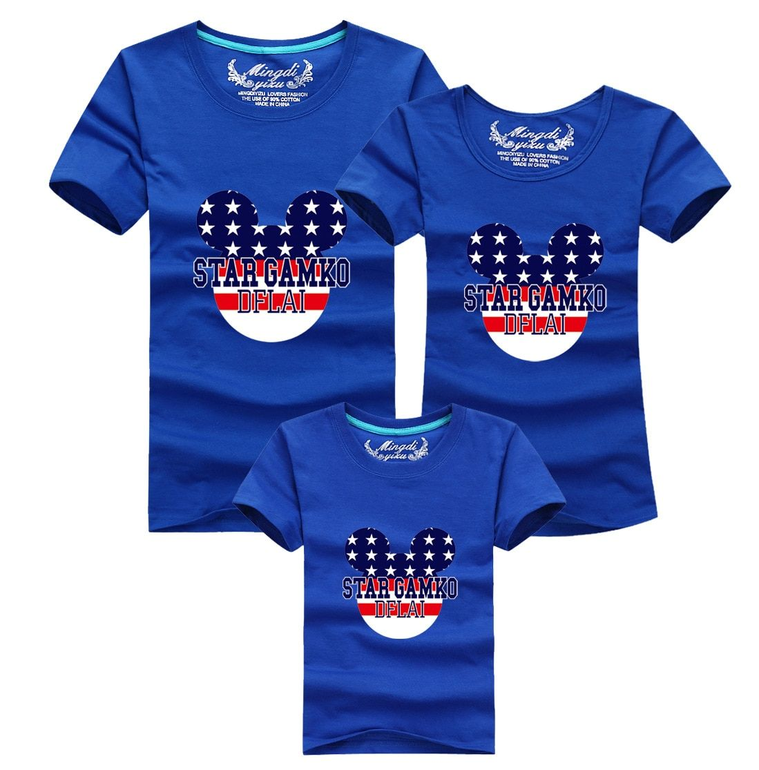 Super Matching Family Outfits Family Look T Shirts Summer Father Mother Kids Cartoon New Cotton Tees Family Clothes AF-1531